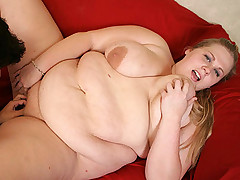 Blonde BBW cutie Christina slobbering a cock before taking it deep into her snatch