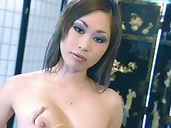 Asami Urano and Yumi are petite Asian sexpots spreading their thighs wide and sharing a black cock
