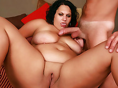 Chloe Blake slurping a big wang and spreads her thick thighs wide to welcome it in her box