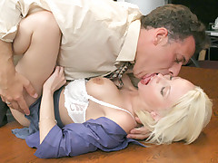 Blonde secretary takes her boss big cock deep in to her rectum
