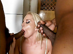 Sexy blonde Simone Schiffer taking two huge dicks in her pussy and ass at the same time