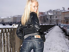 Blonde babe in dark denim jeans spreads ass open for big dick
