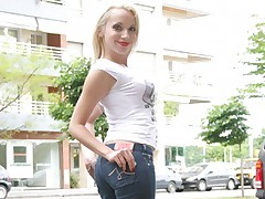 Sweet blonde wearing tight jeans gets drilled and facialed