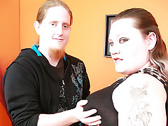 Fat Goth chick Menoly drops the tough act to let a hunk probe her pussy with his meat shaft