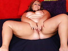 Blonde fatty Dani working a huge black dick with her lips and gets it in her tight pussy