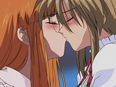 Passionate lez kiss ended up with wild fuck in hot anime