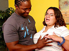 Horny large babe Jewelz hooks up with a bbw loving stud andrides his cock with her fat slit