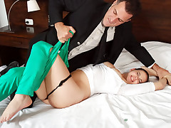 Sweet girl gets ripped by business man and rough sex