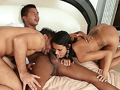 Lovely Karine joins her horny bisexual buddies in a hot threesome of cock slobbering and ass pounding