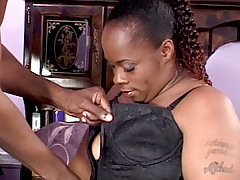 Plump ebony Dimples spreading her thick thighs to take intense anal banging from a black wang