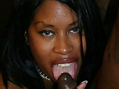 Curvy ebony Brandy Dearborn enjoys pussy pounding and gets a nasty cumshot it her butt