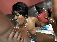 Luscious ebony Beauty and two well endowed black hottie engage in a nasty ebony sex threesome