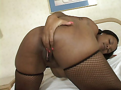 Ebony Suckable strips off her clothes to show off her curves and gets intense anal pounding