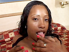 Voluptuous ebony Cherokee Da Ass showing off her big tits and booty and takes cock cramming in her bottom
