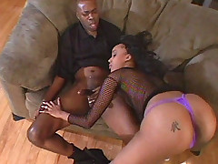 Pretty ebony Lady Armani dishes out her pussy by riding a black pole reverse cowgirl