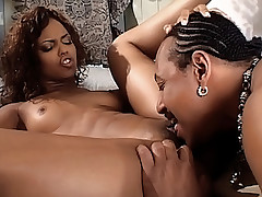 Hot ebony babe gets her cunt lapped and banged