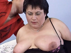Hot bbw Laszlone lifts her legs high as she gets her plump pussy drilled