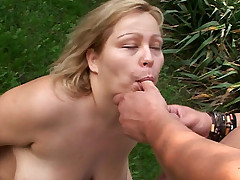Blonde bbw Helga spreads wide as she gets fucked hard outdoors in this hardcore fatty fucking