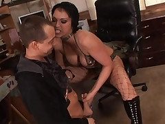 Horny mommy gets her plump knockers jizzed