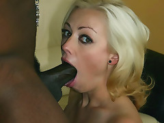 Hot Blondie Adrianna Nicole gives a monster black cock a sexy oral and later rides it with her shaved cooter