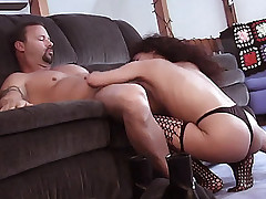Gorgeous redhead Gia with stocking clad legs taking heaps of cock dipping from a muscled stud