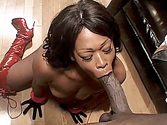 Bootylicious ebony Storm rides on top and gets anal cramming from a huge black wang