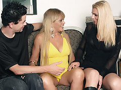 Gorgeous blonde Samara lets her partner play with her shaft while she rides on top of his dick
