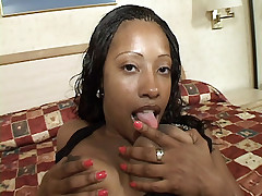 Cock greedy ebony Cherokee Da Ass taking a big one in her mouth and tight butthole