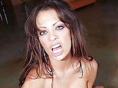 Naughty pornstar with big boobs Vanessa Lane lubricates cock with her mouth and strokes it