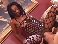 Ebony babe Extacy rides on top and spreads her fleshy butt wide to take cock stuffing in her pussy