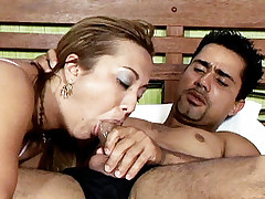 Tanned bbw hottie Sabrina Ferrari rubs her lips all over a huge cock before sucking it deep