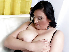 Busty chick Claudia plays with her big tits while this fatty got her pussy finger fucked