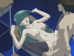 Crazy anime with long haired doll sucking and fucking