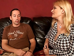 Milf Lynn Lemay seduces a hot young stud into fucking her good in the living room sofa