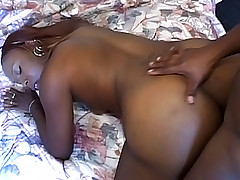 Ebony chick gets her pussy hole stretched with cock