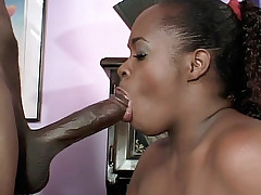 Horny ebony pornstar Dimples pumped hard in her butt then sprayed with jizz in her face