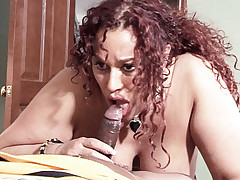 Milf Gina De Palma blows a younger guy then sucks on his nuts before getting hard fucked