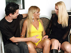 Nasty tranny Samara and her lover fuck each other while their milf fuckbuddy masturbates