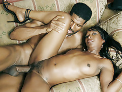 Ariel Alexus gets lucky because she gets her ebony pussy screwed by a humongous black schlong