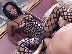 Ebony pornstar Extacy gaping in her ass hole after being ass fucked by a lucky stud