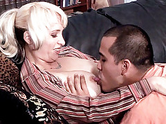 Stunning Milf Sophia Mounds bends over the sofa inviting her guy to fuck her in dog style position