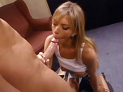 Hot porn star Brooke Banner sucks on a huge dick before she gets her pussy cumhosed