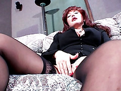 Milf Sexy Vanessa deepthroats a cock on a sofa then riding it like a cowgirl
