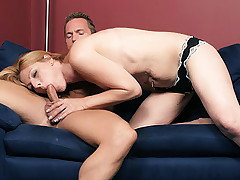 Gorgeous blonde MILF Isadora gets her pussy licked and straddles on top of a huge raging dick