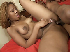 Sassy ebony Michelle fondles with her sweet looking racks before taking hard anal pounding from a black cock