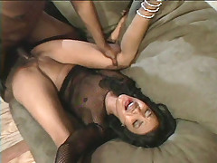 Hot ebony Starla is on her back and getting a good pounding before she rides a huge dick