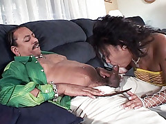 Chubby ebony babe Kitten getting her ass nailed by a huge cock of a moustached guy