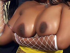Black chick Kitten has curves and big boobs that bounces while she grinds on a raging dick