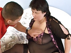 Big tit bbw Laszlone is wearing her favorite lingerie as she lets her young lover fondle her tits
