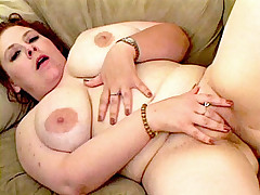 Sweet faced bbw sucking massive sized cock